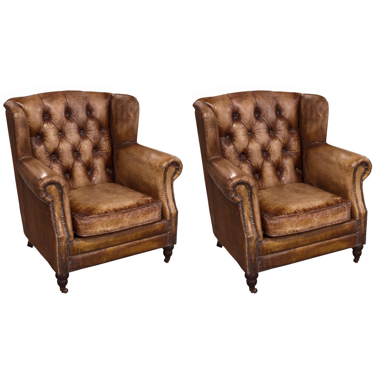 Pair of English Library Chairs with Distressed Leather at ...