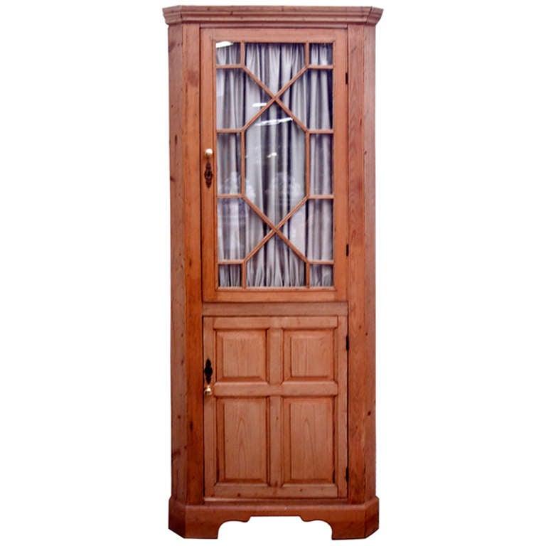19th Century English Pine Corner Cupboard