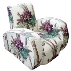 Dramatic Art Deco Club Chair Reupholstered in Floral Barkcloth