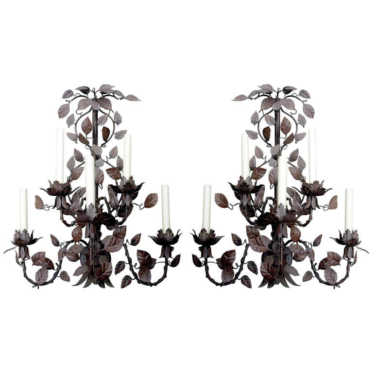 Monumental Pair of Tole Six-Arm Wall Sconces For Sale