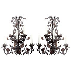 Monumental Pair of Tole Six-Arm Wall Sconces, Also Have Associated Chandelier.