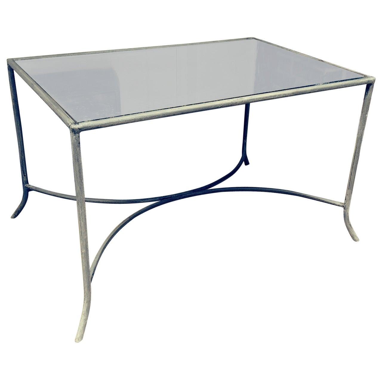 Zinc and Antique Mirror Coffee or Garden Table
