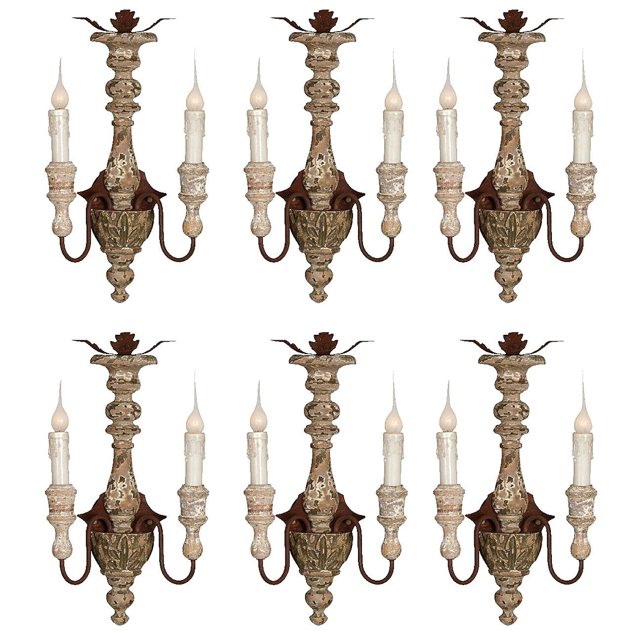Set of Six Italian Style Carved Wood and Iron Two-Arm Sconces