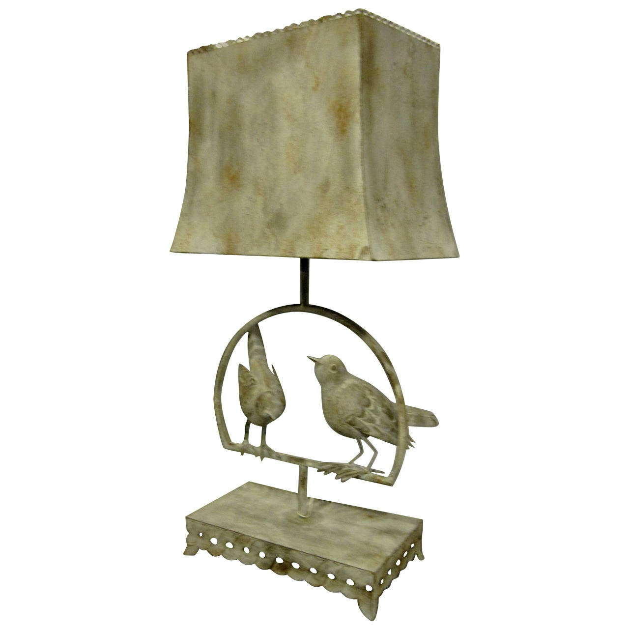 Charming Tole Bird Lamp With Tole Shade In Verdi Gris Finish At 1stdibs