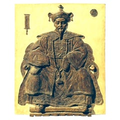 Monumental Midcentury Plaster Bas Relief of a Seated Scholar