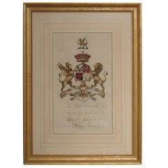 One Pair Of 18th Century Hand Colored Armorial Engravings