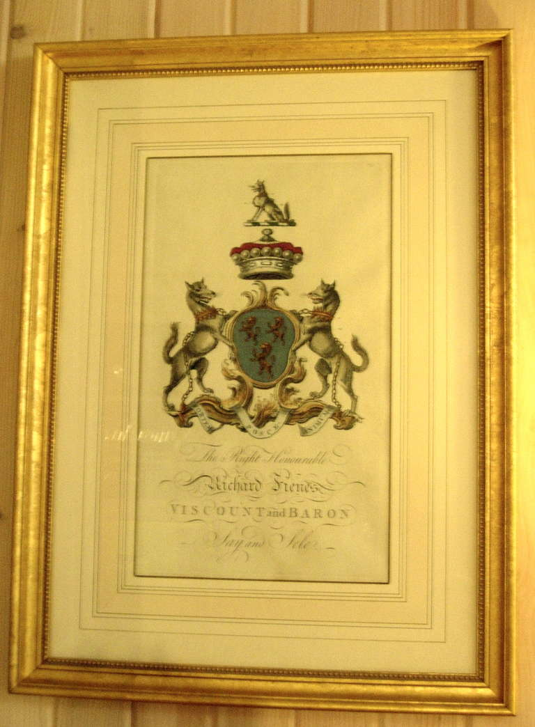 British Pair of 18th Century Hand-Colored Armorial Engravings For Sale