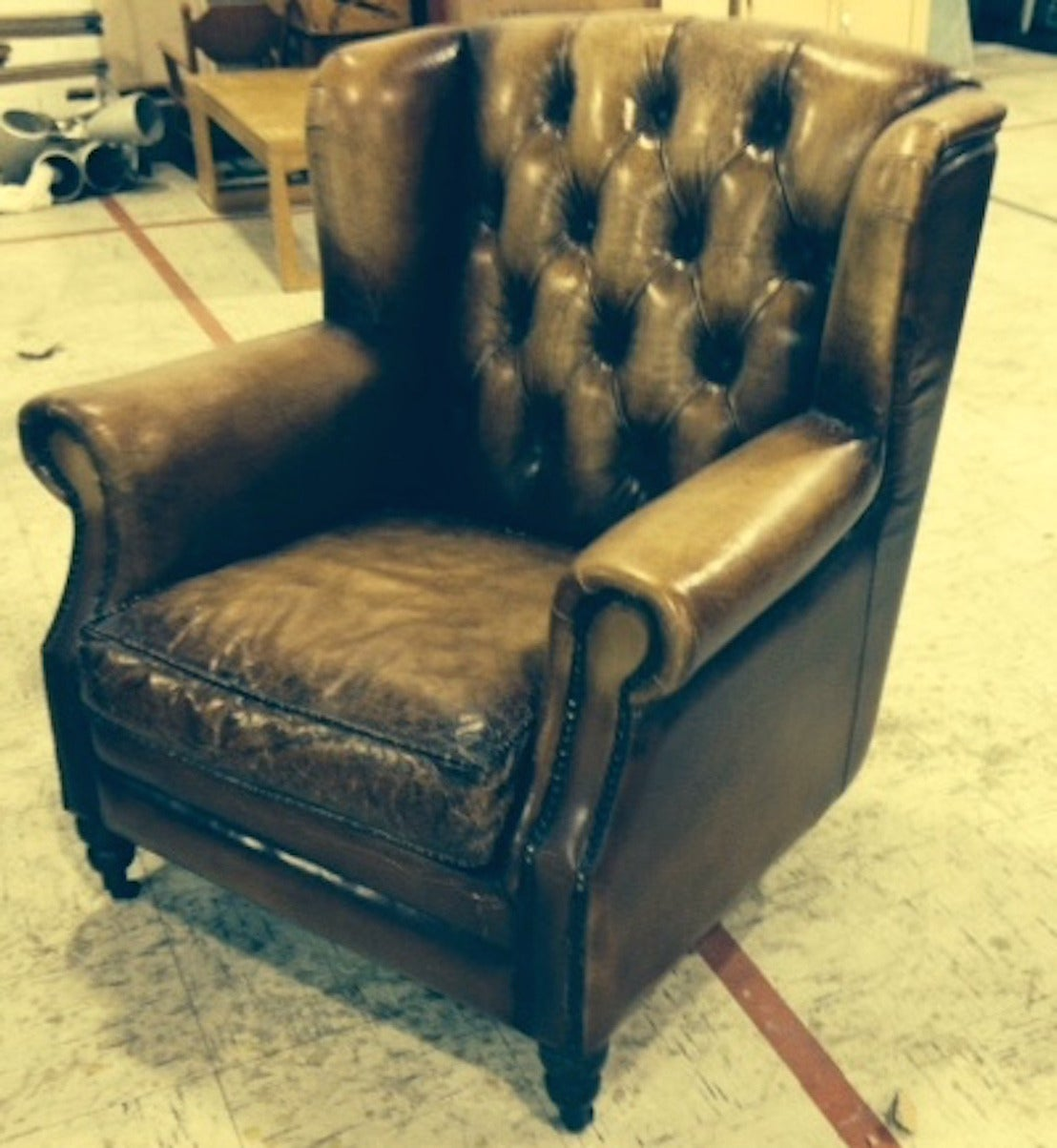 Pair of English Library Chairs with Distressed Leather 2