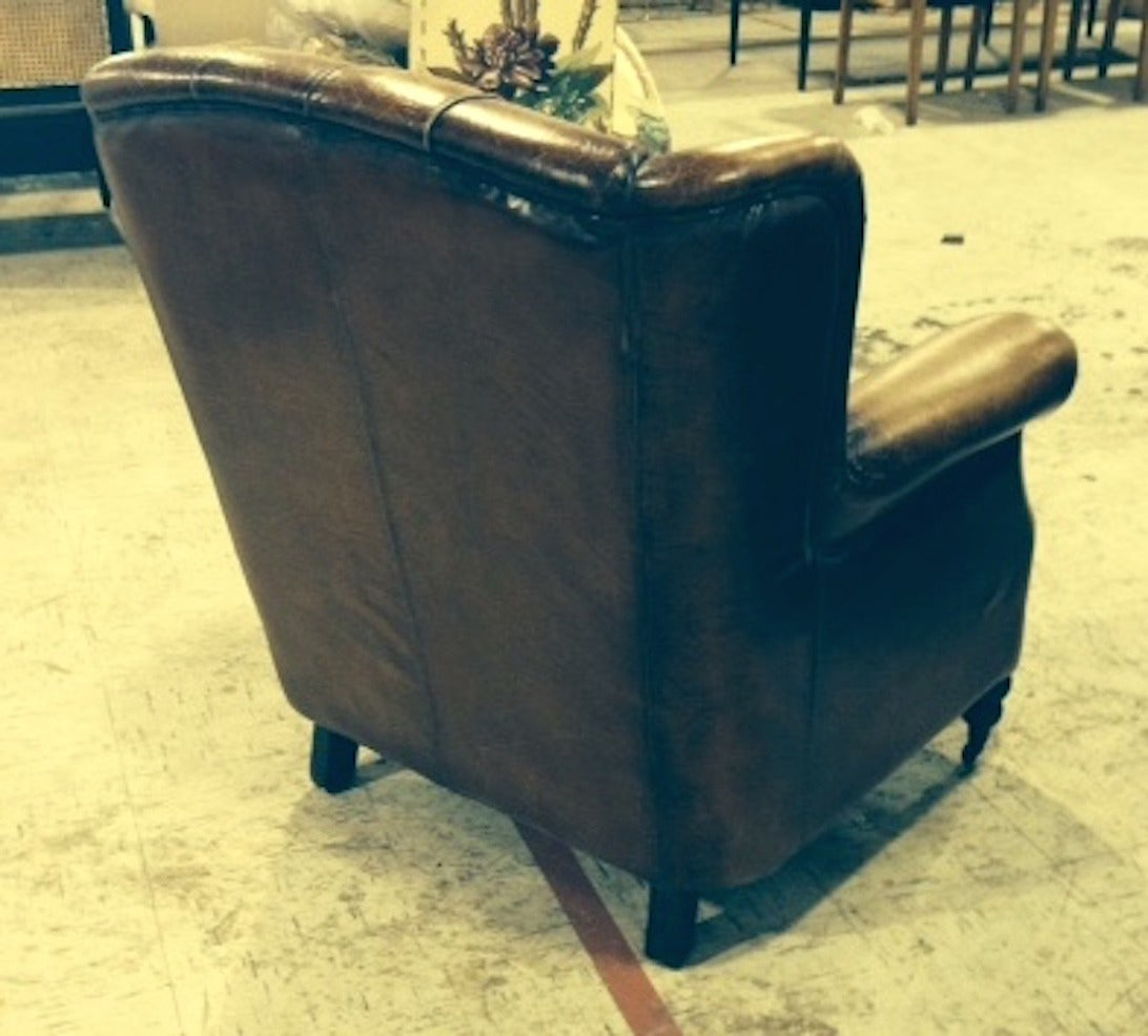 Pair of English Library Chairs with Distressed Leather 3