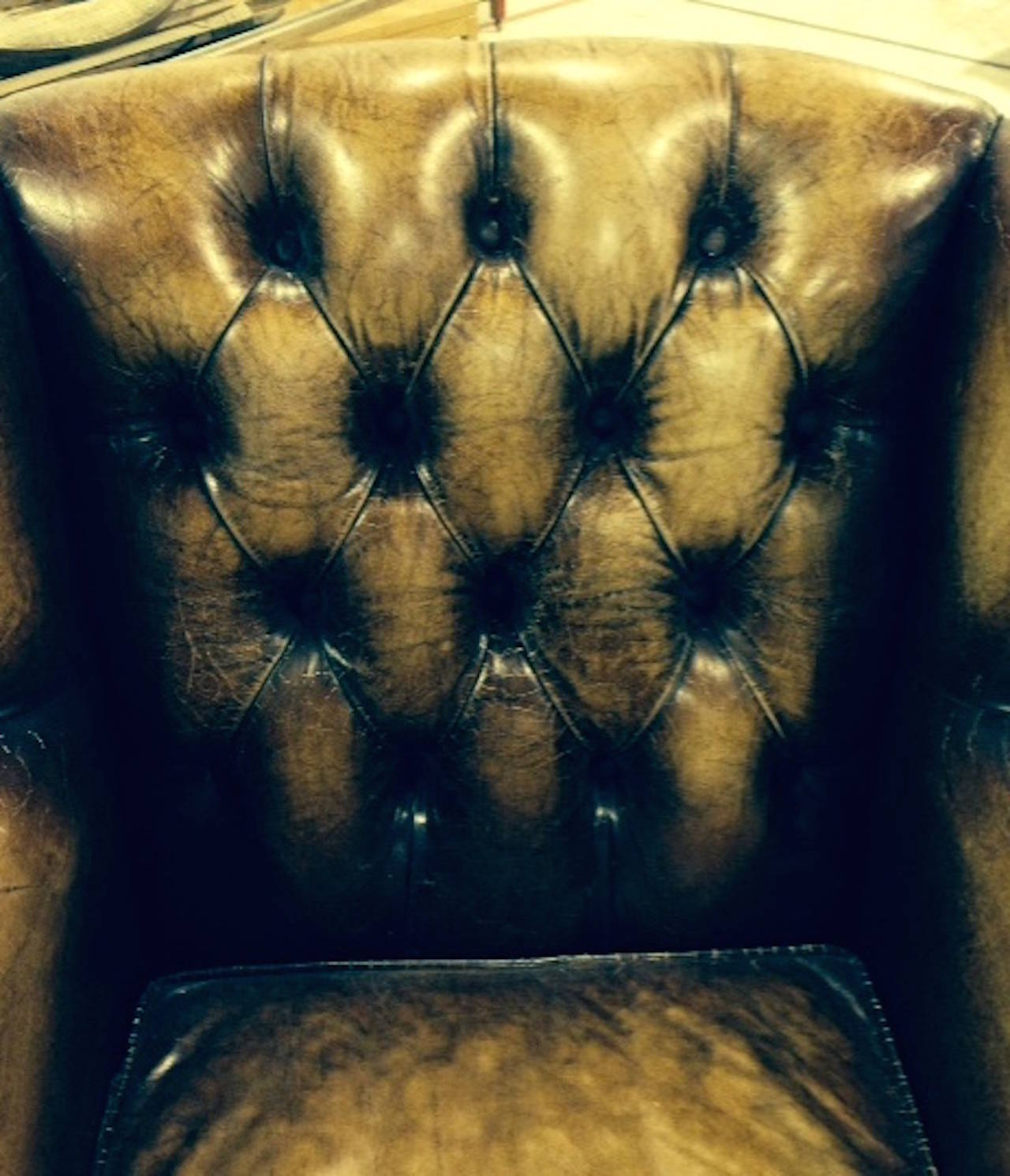 Pair of English Library Chairs with Distressed Leather 4