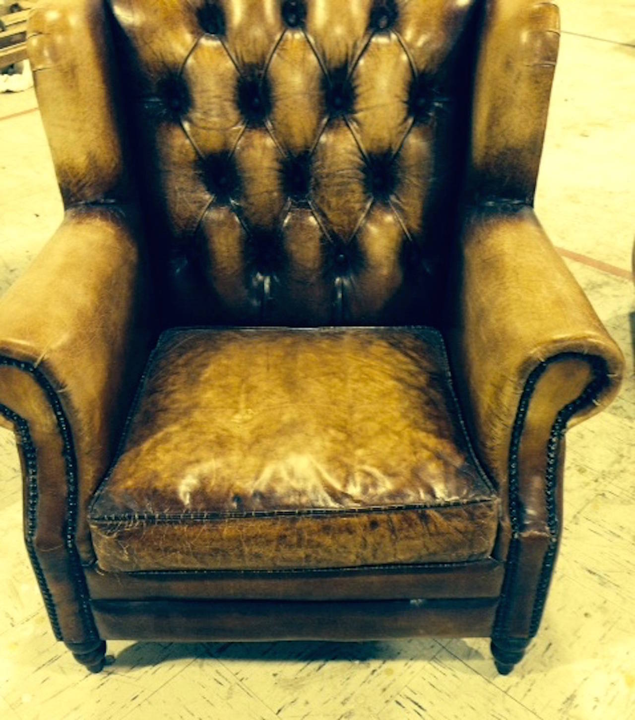 20th Century Pair of English Library Chairs with Distressed Leather For Sale