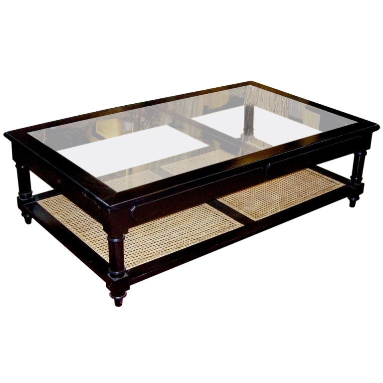 Anglo Indian Style Ebonized Wood Glass And Cane Coffee Table At 1stdibs