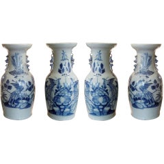 Collection Of Four Chinese Blue And White Temple Jars
