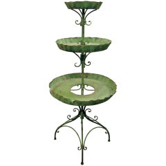 English Tole Three-Tier Plant Stand, Lovely Worn Painted Finish