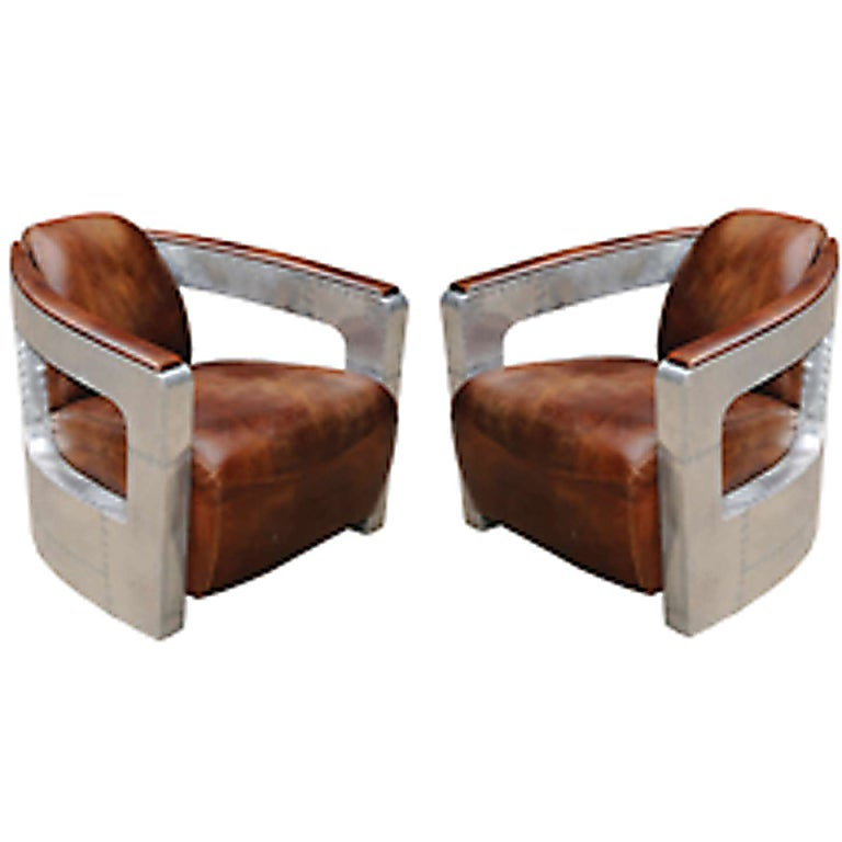 Bon One Pair Of English Aviator Style Club Chairs With Distressed Leather For  Sale