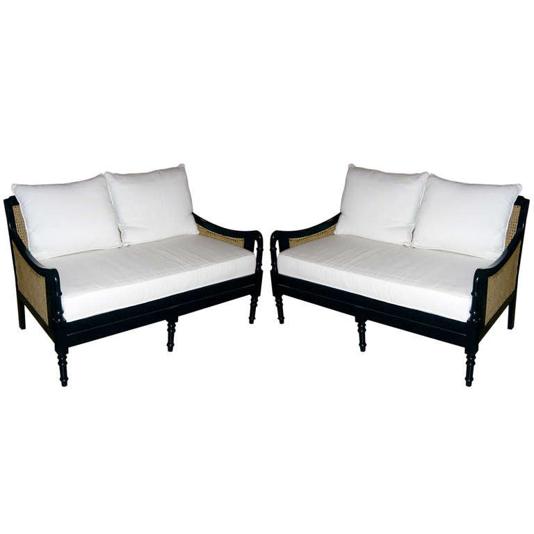 pair of british colonial style two seat settees at 1stdibs. Black Bedroom Furniture Sets. Home Design Ideas