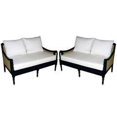Pair of British Colonial Style Two-Seat Settees