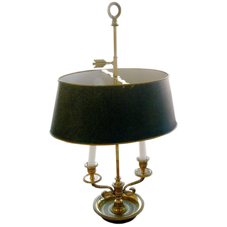 English Bronze And Towle Two Arm Bouillotte Lamp at 1stdibs