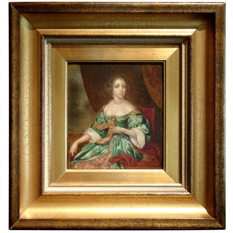 18th Century European Oil on Board Portrait of a Lady