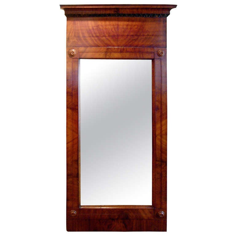 Continental Flame Mahogany Pier Mirror For Sale