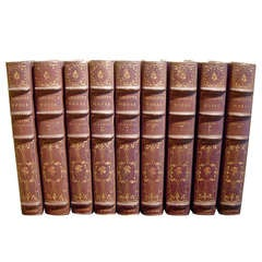 22 Leather-Bound Books with Gilt Tooling