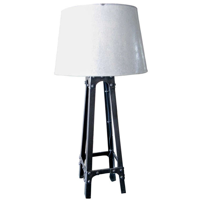 Charming Industrial Iron Lamp With Galvanized Metal Shade At 1stdibs