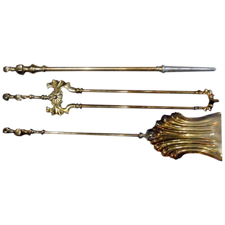 Collection of Solid Brass Fireplace Tools For Sale