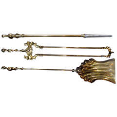 Collection of Solid Brass Fireplace Tools