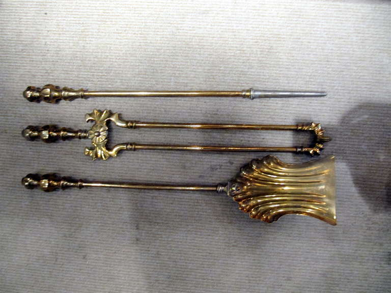 Collection of solid brass fireplace tools, priced per set.
