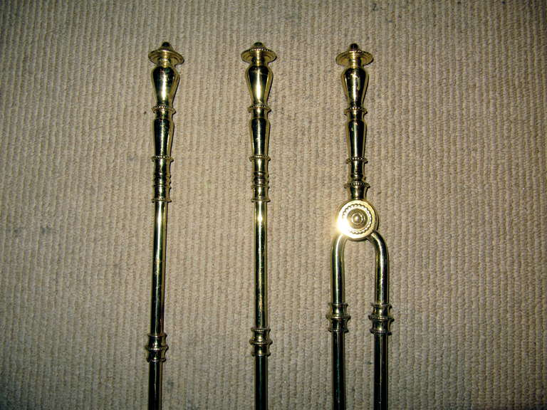 20th Century Collection of Solid Brass Fireplace Tools For Sale