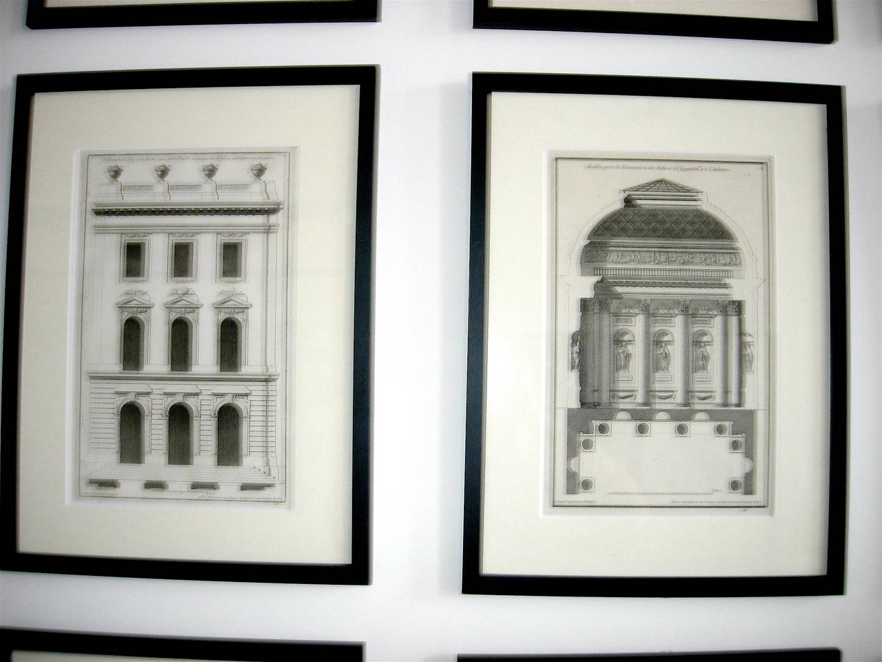 Paper Extensive Collection of 18th Century Architectural Engravings, Priced Per Piece. For Sale
