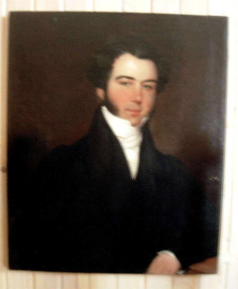 Very nice Regency portrait of a handsome gentleman, unframed.  Please note we have a large selection of portraiture including gentlemen, ladies and some children.