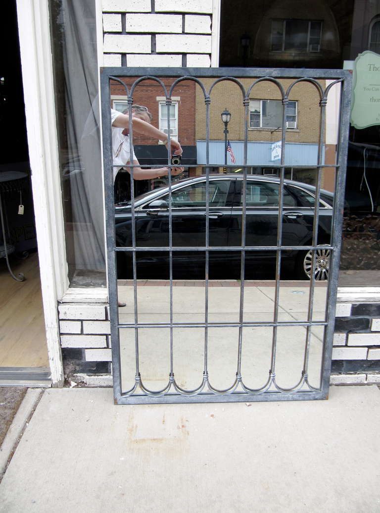 One Pair Of Iron Garden Fragments Fitted With Mirrors Zinc Finish At 1stdibs