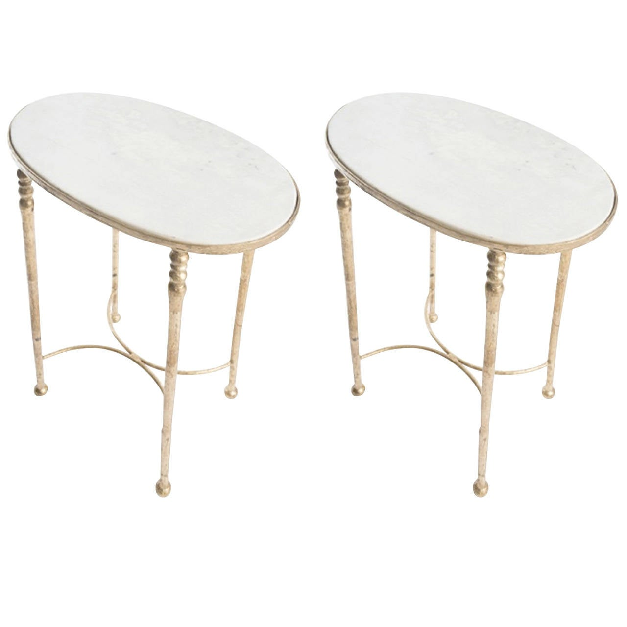 Two Gilt Metal and Marble Drinks Tables in the Style of Giacometti