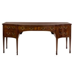 George III Mahogany and Satinwood Inlaid Sideboard.  Great Scale And Color.