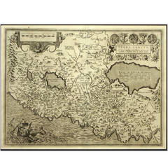 Engraving Depicting 16th Century Map of Terra Sancta