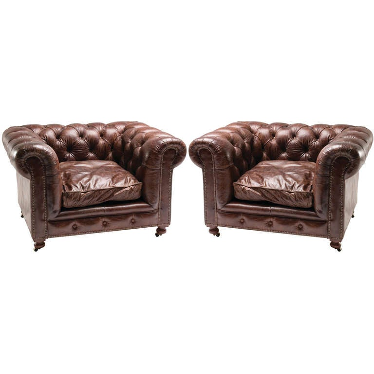 Pair of Large-Scale Chesterfield Club Chairs with Distressed Leather