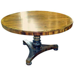 Regency Calamander Breakfast or Center Table with Brass Inlay