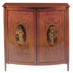 19th Century English Adams, Satinwood Cabinet with Painted Decoration
