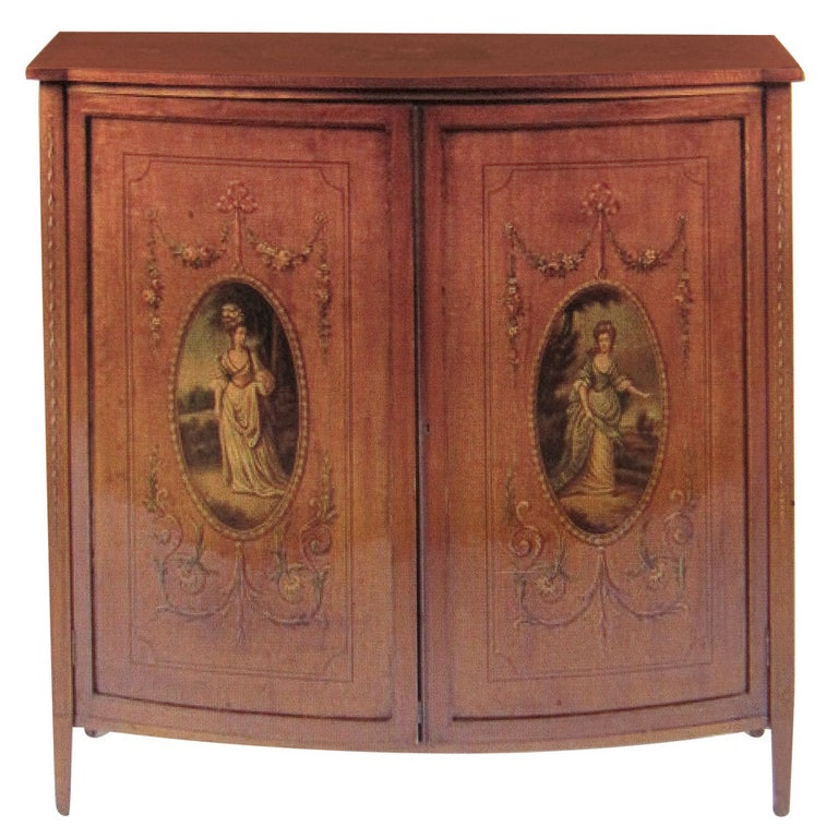 19th Century English Adams, Satinwood Cabinet with Painted Decoration For Sale