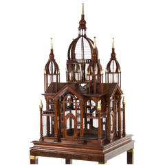 Monumental English Mahogany Bird Cage on Stand