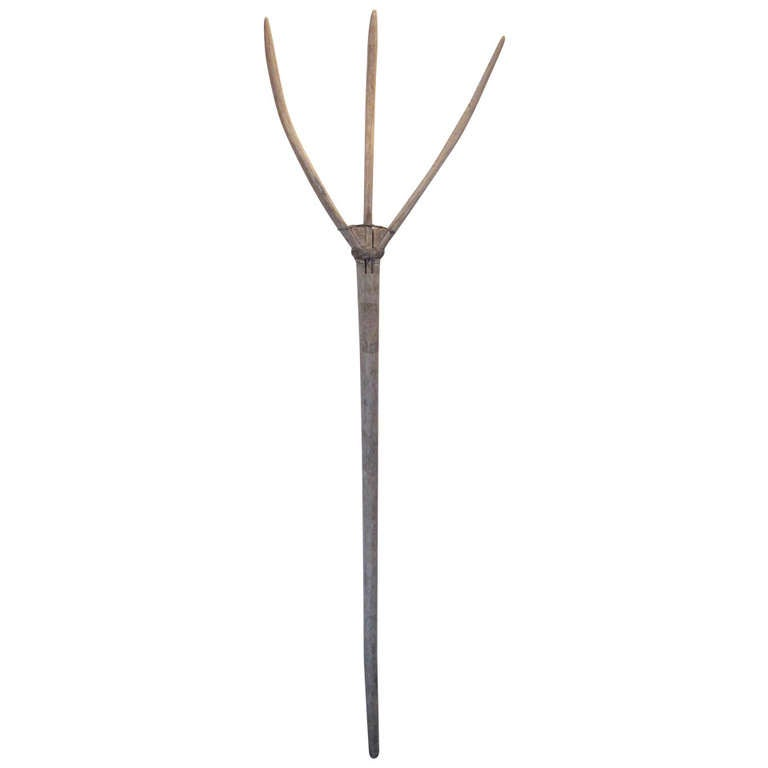 Primitive hand honed shaker style farm tool or pitchfork for Pitchfork tool for sale
