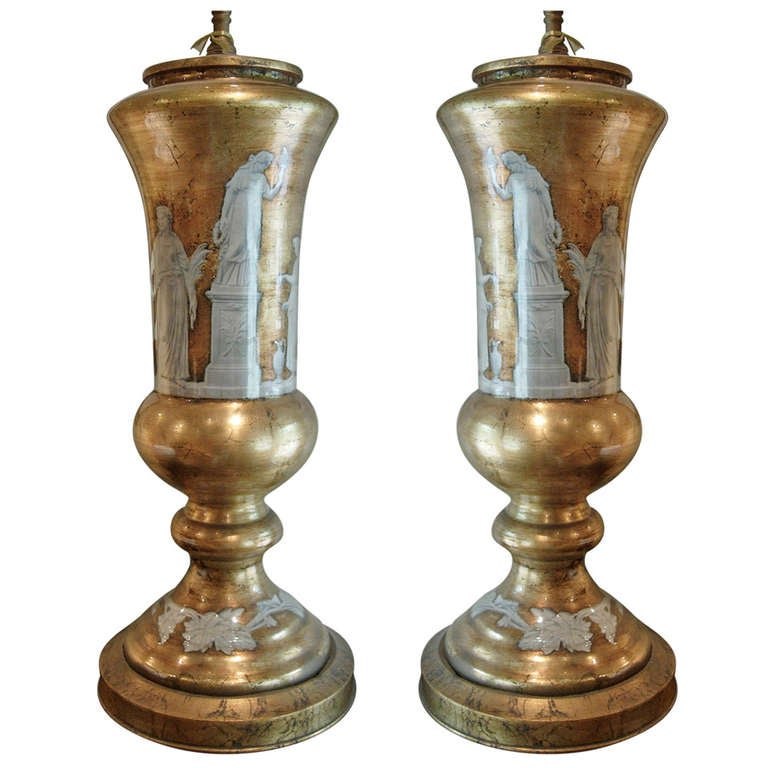 Pair of Neoclassical Reverse Painted Lamps