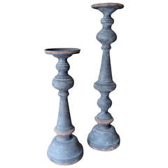 Two Patinated Metal Candle or Pricket Sticks