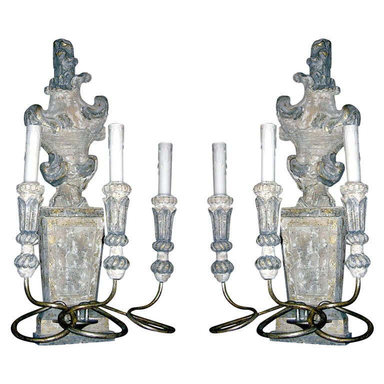 Set of Six Italian Style Three-Arm Sconces of Large-Scale