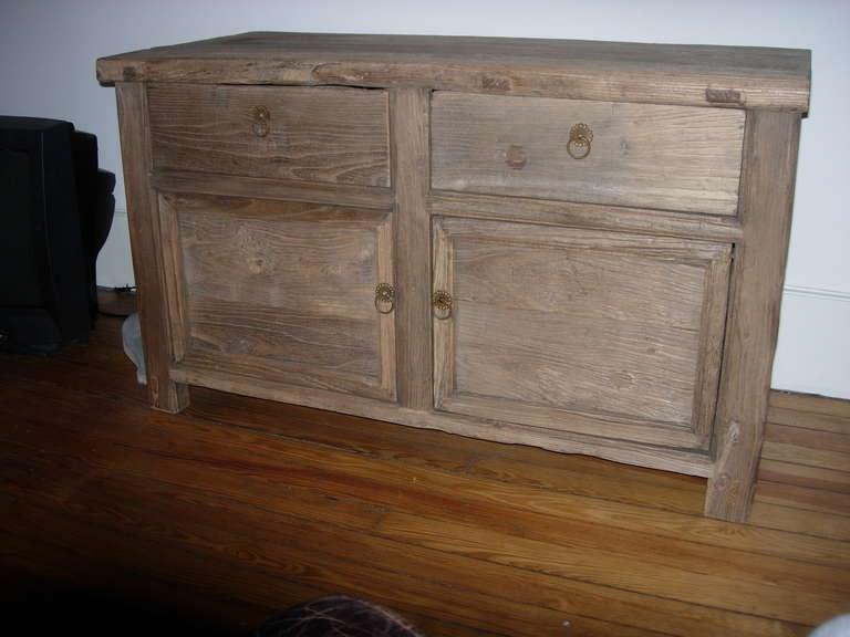 Handsome two-door cabinet of reclaimed wood. Great weather texture.