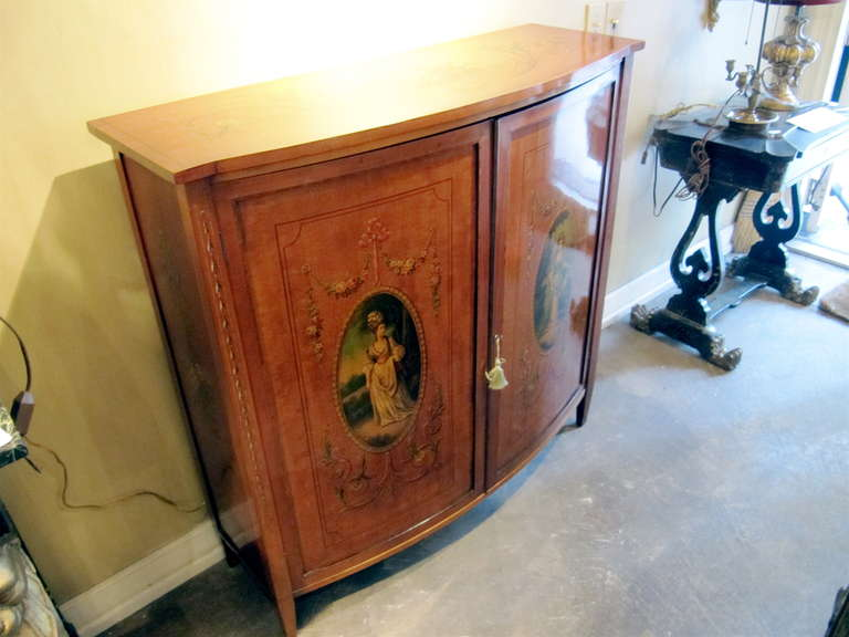 19th Century English Adams, Satinwood Cabinet with Painted Decoration For Sale 2