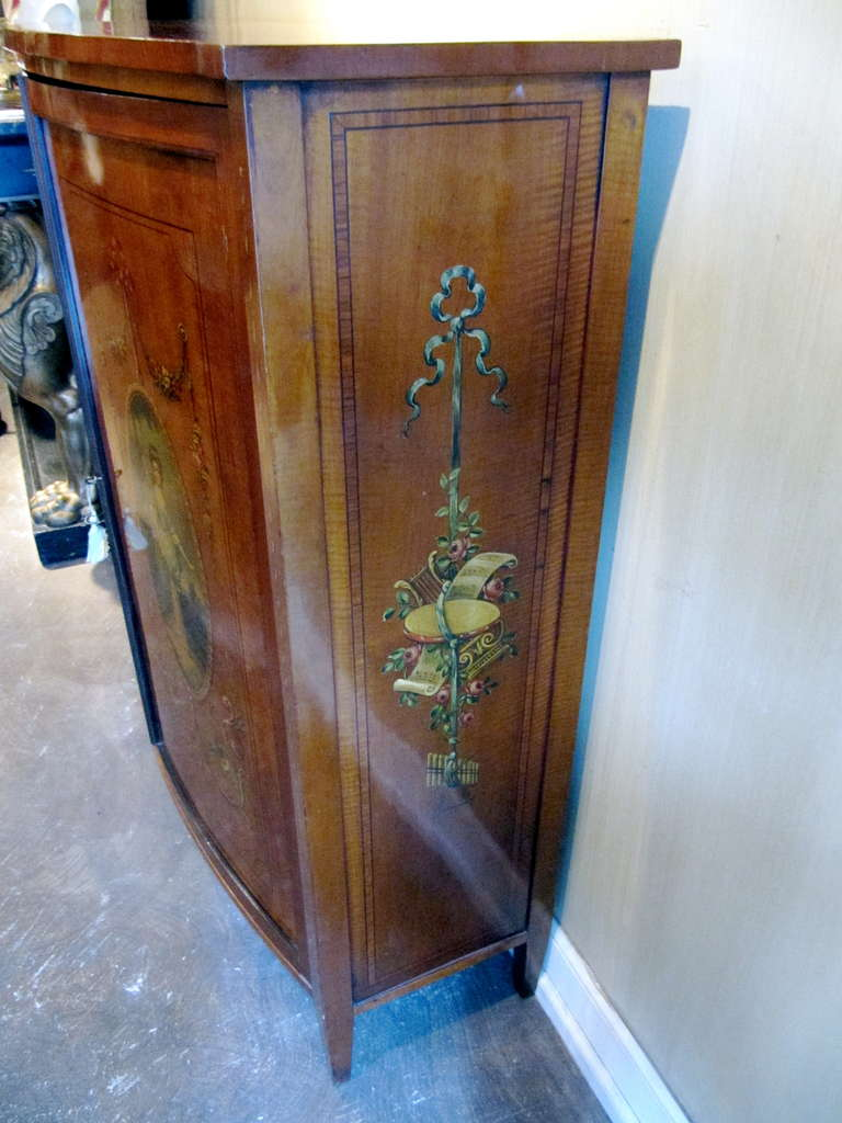 19th Century English Adams, Satinwood Cabinet with Painted Decoration For Sale 1