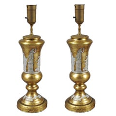 Pair of Hollywood RegencyReverse Painted Glass Lamps with Neoclasical Decoration