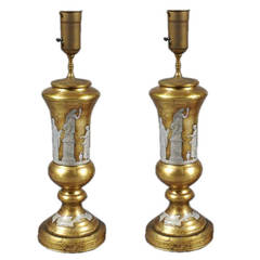 Pair of Reverse Painted Glass Lamps with Neoclasical Decoration